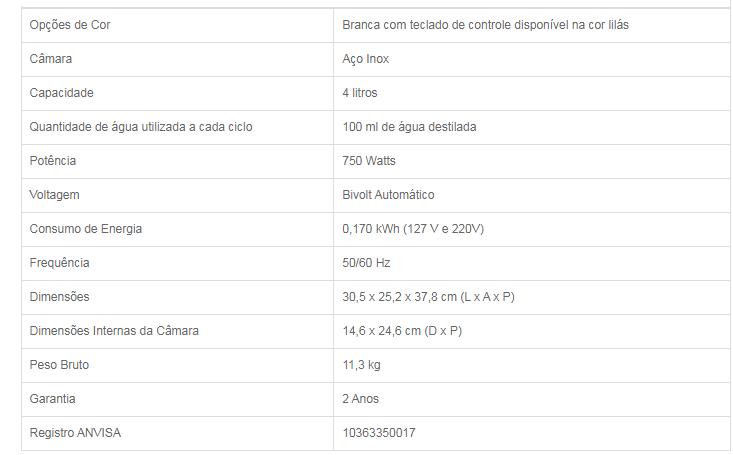 Opções de Cor Branca com teclado de controle disponível na cor lilás Câmara Aço Inox Capacidade 4 litros Quantidade de água utilizada a cada ciclo 100 ml de água destilada Potência 750 Watts Voltagem Bivolt Automático Consumo de Energia 0,170 kWh (127 V e 220V) Frequência 50/60 Hz Dimensões 30,5 x 25,2 x 37,8 cm (L x A x P) Dimensões Internas da Câmara 14,6 x 24,6 cm (D x P) Peso Bruto 11,3 kg Garantia 2 Anos Registro ANVISA 10363350017
