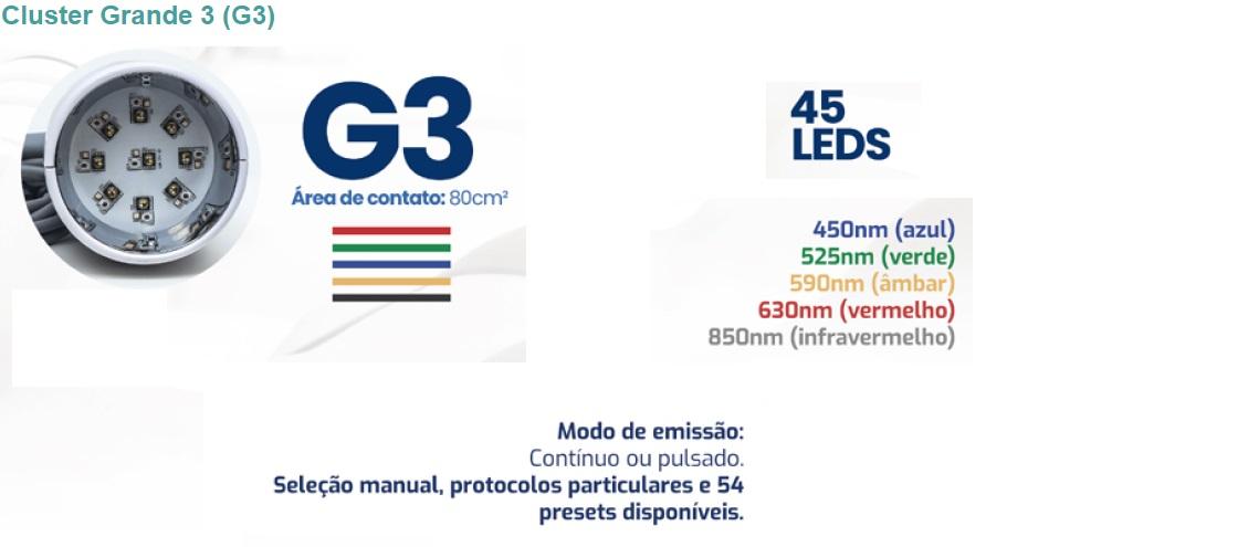 Características do Cluster G3 - 9 LEDs azuis de 450nm com 450mW (Po total: 4050mW) - 9 LEDs verdes de 525nm com 150mW (Po total: 1350mW) - 9 LEDs âmbar de 590nm com 150mW (Po total: 1350mW) - 9 LEDs vermelhos de 630nm com 300mW (Po Total: 2700mW) - 9 LEDs infravermelhos de 850nm com 350mW (Po total: 3150mW) - Densidade de energia ajustável: 1 a 100 J/cm² - Área de contato: 80cm² - Modo de emissão: contínuo ou pulsado