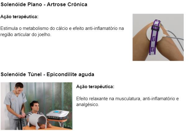 Solenóide plano (Artrose crônica) e Solenóide Túnel (Epicondilite aguda)