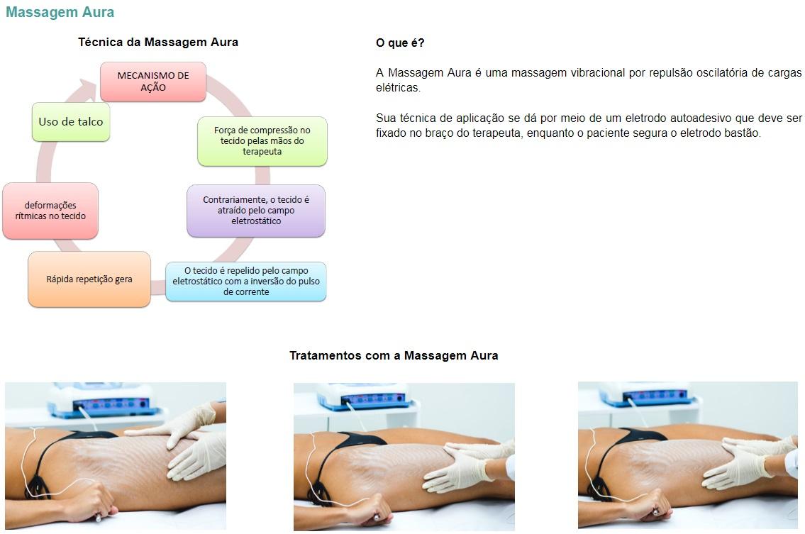 O que é?  A Massagem Aura é uma massagem vibracional por repulsão oscilatória de cargas elétricas.   Sua técnica de aplicação se dá por meio de um eletrodo autoadesivo que deve ser fixado no braço do terapeuta, enquanto o paciente segura o eletrodo bastão.