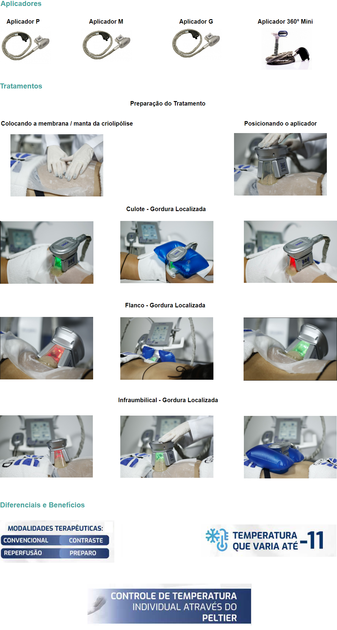 Aplicadores  Aplicador P  Aplicador M     Aplicador G      Aplicador 360° Mini    Tratamentos  Preparação do Tratamento  Colocando a membrana / manta da criolipólise  Posicionando o aplicador  Culote - Gordura Localizada  Flanco - Gordura Localizada  Infraumbilical - Gordura Localizada